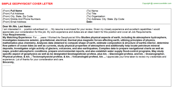 Geophysicist Cover Letter Template