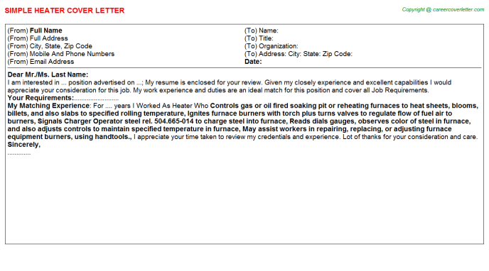 Heater Job Cover Letter Template