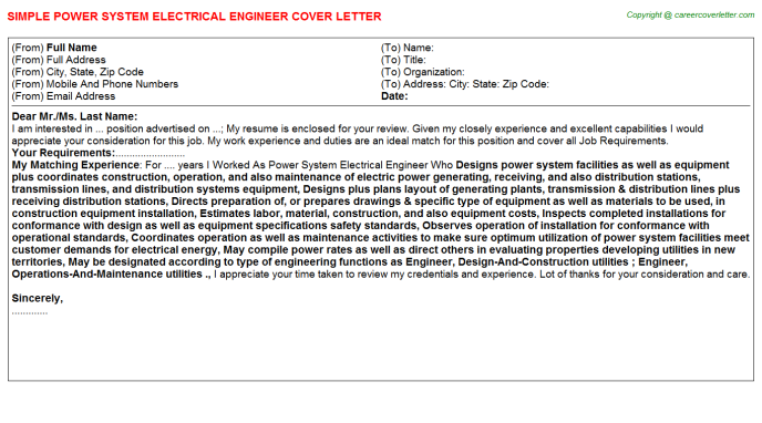 Power System Electrical Engineer Job Cover Letter