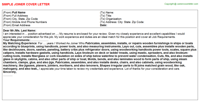 Joiner Cover Letter Template