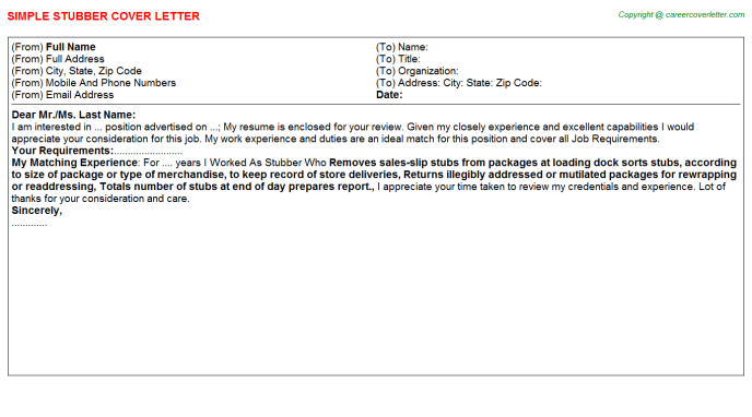 Stubber Cover Letter Template