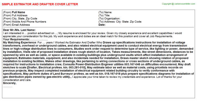 Estimator And Drafter Cover Letter Template