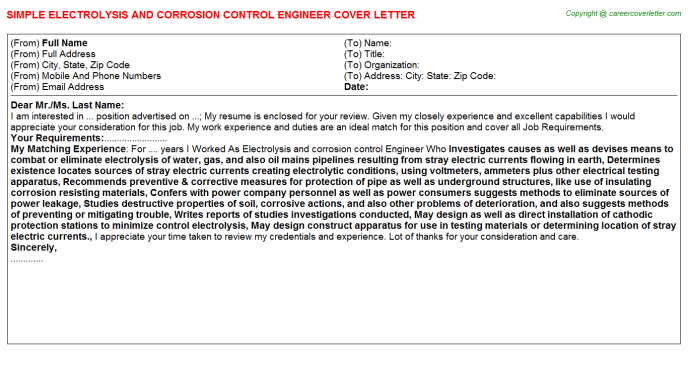 Electrolysis And Corrosion Control Engineer Job Cover Letter Template