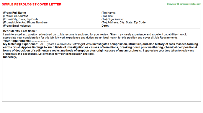 Petrologist Job Cover Letter Template