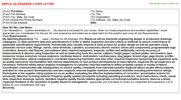 Qa Engineer Job Cover Letters Examples