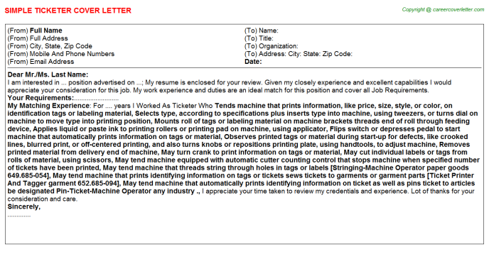 Ticketer Cover Letter Template