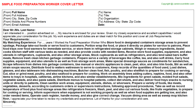 Food Preparation Worker Cover Letter Template