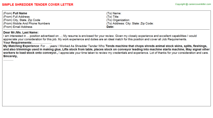 Shredder Tender Cover Letter Template