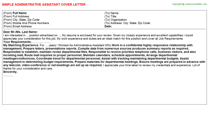 Administrative Assistant Job Cover Letter Template
