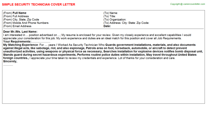Security Technician Job Cover Letter Example
