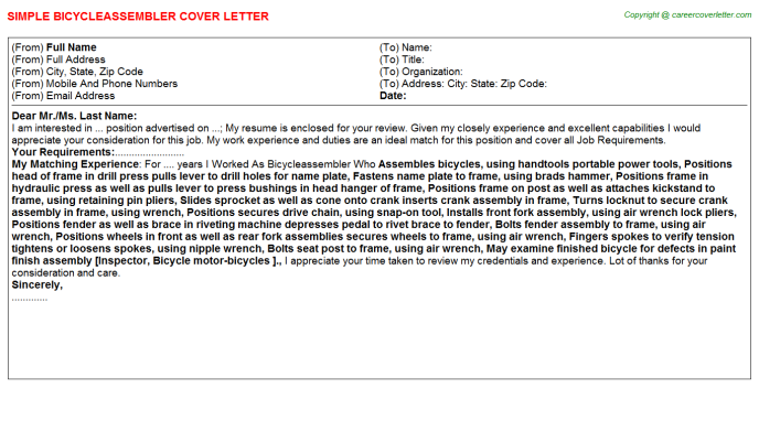 Bicycleassembler Cover Letter Template