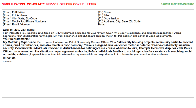 patrol community service officer cover letter template