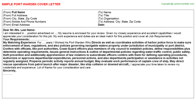 Port Warden Cover Letter Template