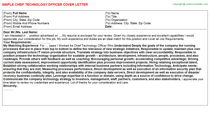 Chief Technology Officer Cover Letter Template