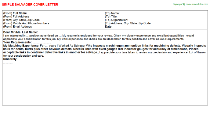 Salvager Cover Letter Template