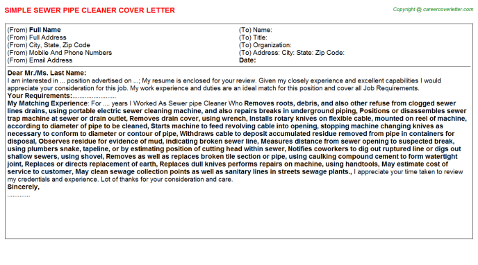 Sewer pipe cleaner job cover letter (#21507)