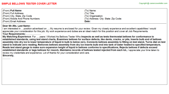Bellows Tester Cover Letters
