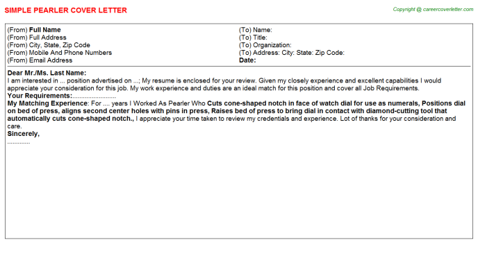 Pearler Cover Letter Template