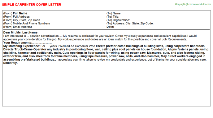 carpenter cover letter template