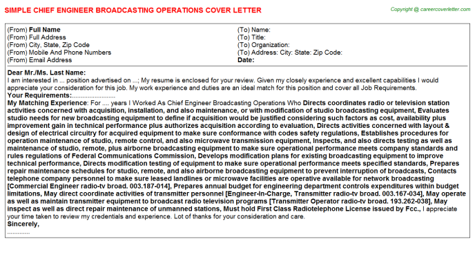 Chief Engineer Broadcasting Operations Job Cover Letter Template