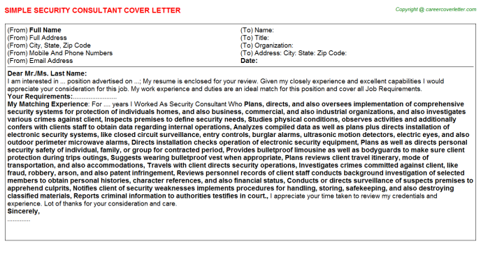 Security Consultant Job Cover Letter