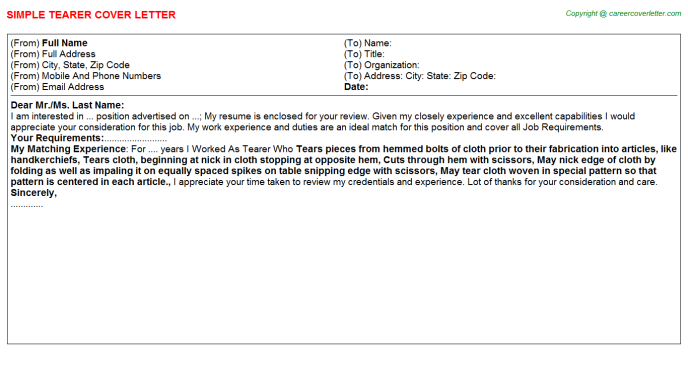 Tearer Job Cover Letter Template