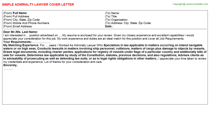 admiralty lawyer cover letter template