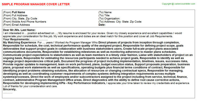Program Manager Cover Letter Template