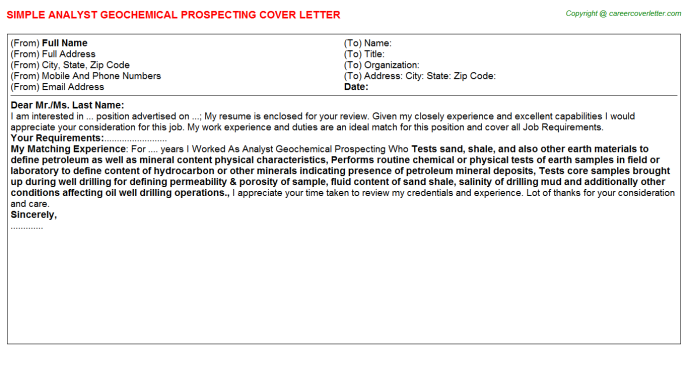 analyst geochemical prospecting cover letter template