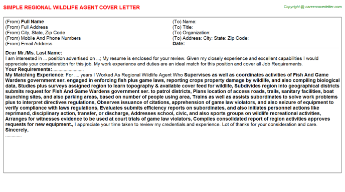 regional wildlife agent cover letter template