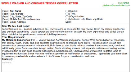 Washer and crusher Tender Job Cover Letter Template