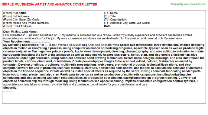 Multimedia Artist And Animator Job Cover Letter Template
