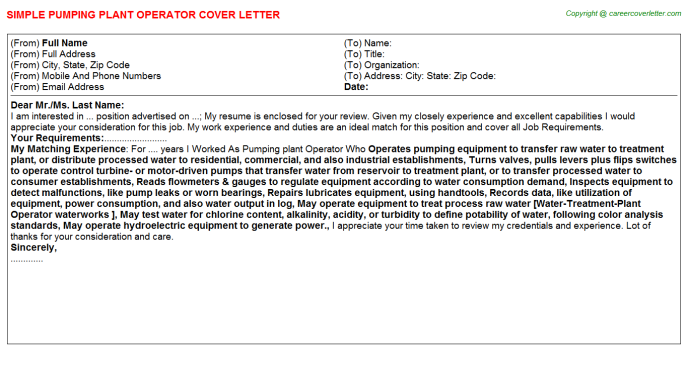 Pumping Plant Operator Cover Letter Template