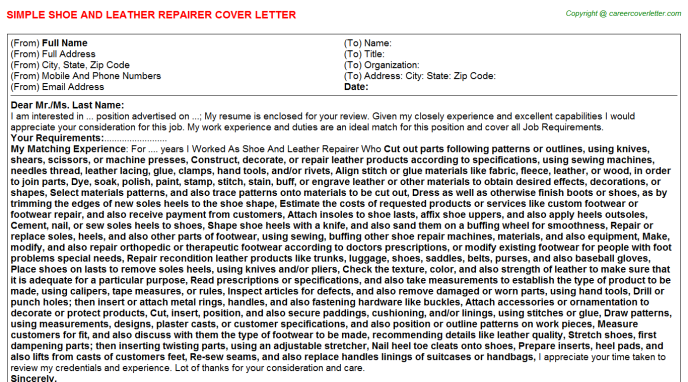 Shoe And Leather Repairer Cover Letter Template