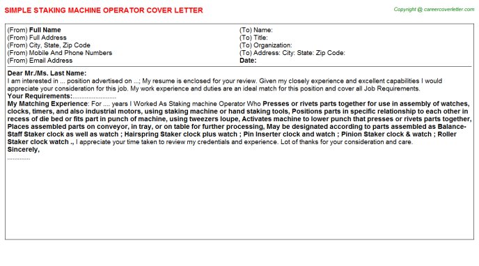 staking machine operator cover letter template