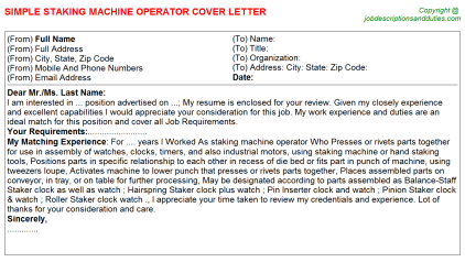 Staking machine Operator Job Cover Letter Template