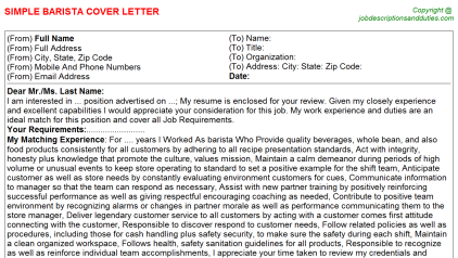 Barista Job Cover Letter Template