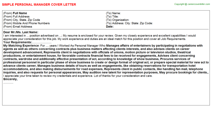 Personal Manager Job Cover Letter Template