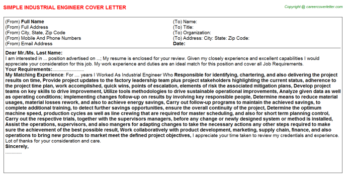 Industrial Engineer Job Cover Letter Template