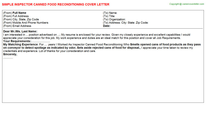 Inspector Canned Food Reconditioning Cover Letter Template
