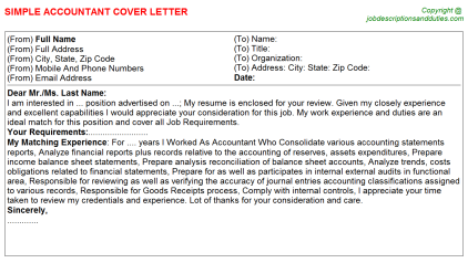 Accountant Job Cover Letter Template