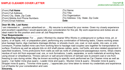 Cleaner Job Cover Letter Template