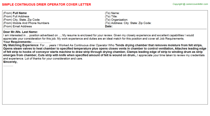 Continuous drier Operator Job Cover Letter Template