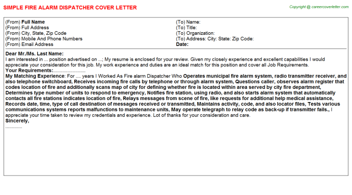 fire alarm dispatcher cover letter template
