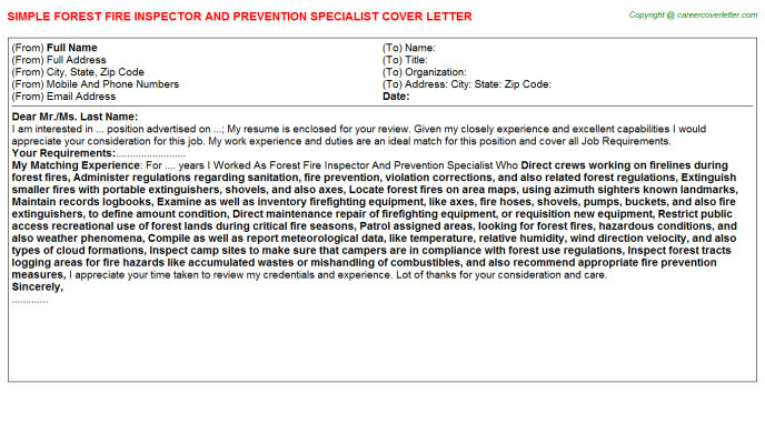 Forest Fire Inspector And Prevention Specialist Job Cover Letter Template