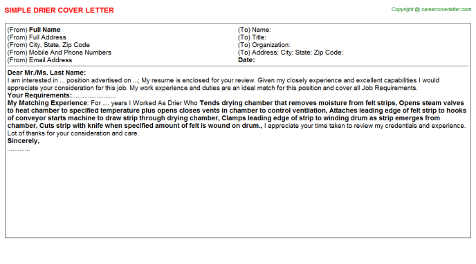 Drier Cover Letter Template