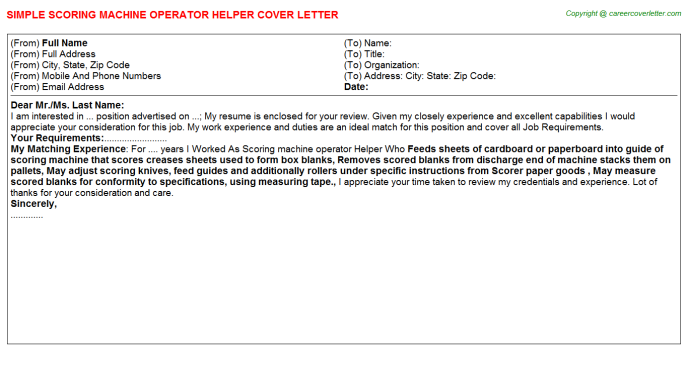 Scoring machine operator Helper Job Cover Letter Template