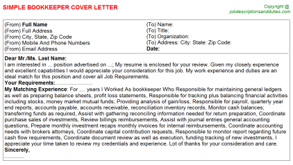 Bookkeeper Job Cover Letter Template