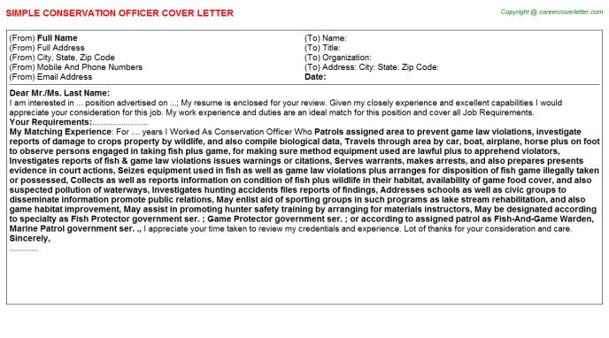 conservation officer cover letter template