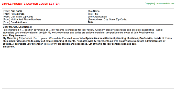 probate lawyer cover letter template